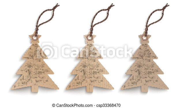 Cardboard Christmas Tree.3 Cardboard Christmas Tree Price Stickers Set