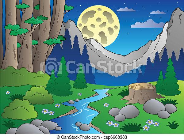 3, caricatura, paisaje, bosque - csp6668383