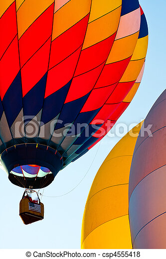 3 colorful balloons in blue sky - csp4555418