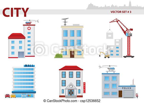 3, conjunto, público, edificio. - csp12536652