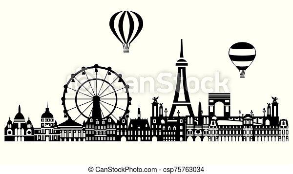 3, contorno, ciudad, vector, parís - csp75763034