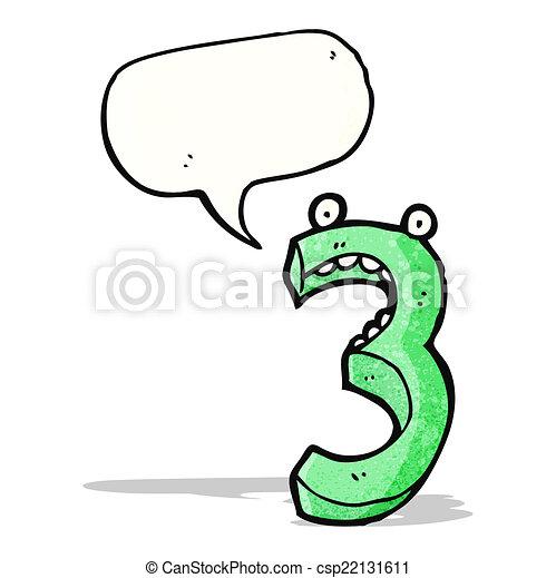 3, dessin animé, nombre - csp22131611