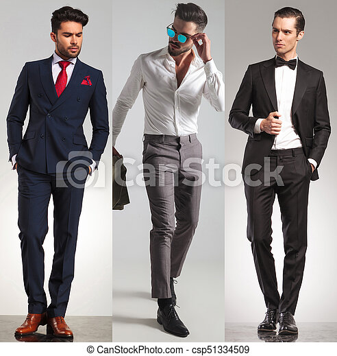 3 different elegant young men - csp51334509