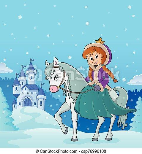 3, equitación, invierno, caballo, princesa - csp76996108