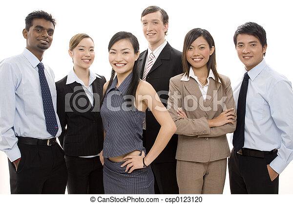 3, feliz, equipe negócio - csp0123120