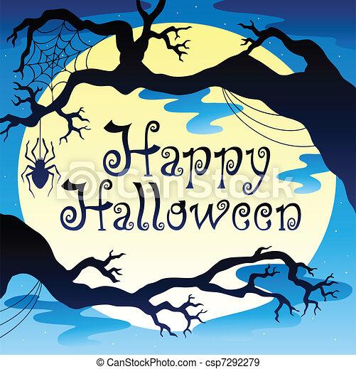 Feliz Tema de Halloween con la luna 3 - csp7292279