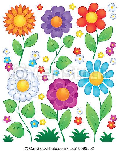 Coleccion de flores de dibujos animados 3 - csp18599552