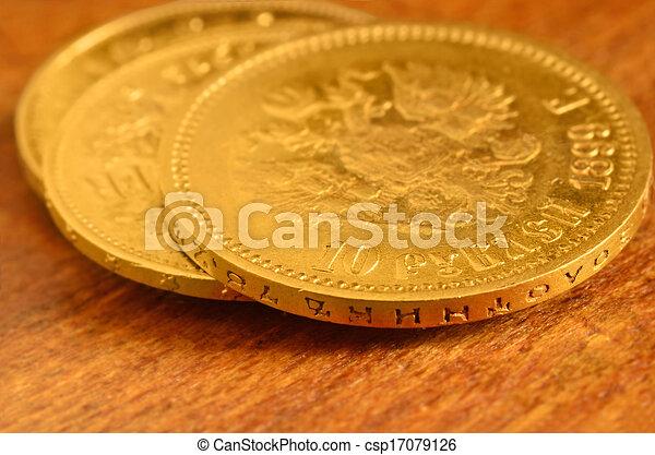 3 Gold coins - csp17079126