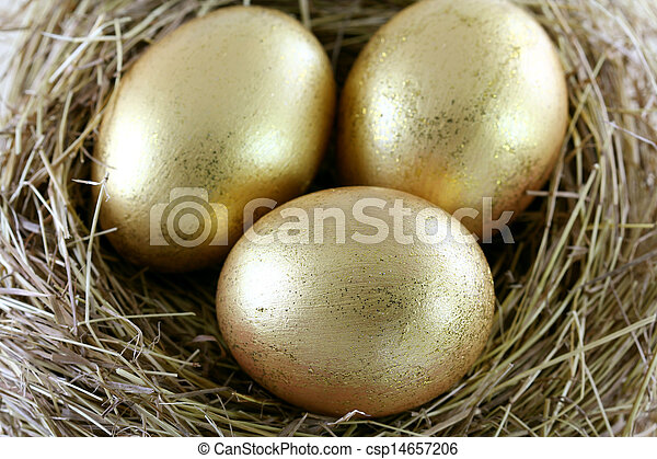 3 golden Eggs with glitters - csp14657206