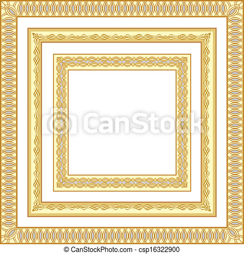 3 golden frames. 3 golden square frames/decorative borders vector ...