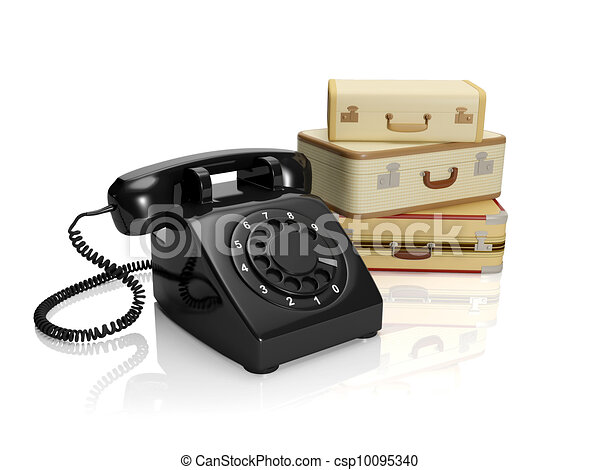 3? illustration: The company on tourism or freight transportation. A retro phone with luggage - csp10095340