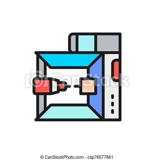 3, impresora de color, plano, modelo, dimensional, profesional, línea, icon., 3d - csp76577661