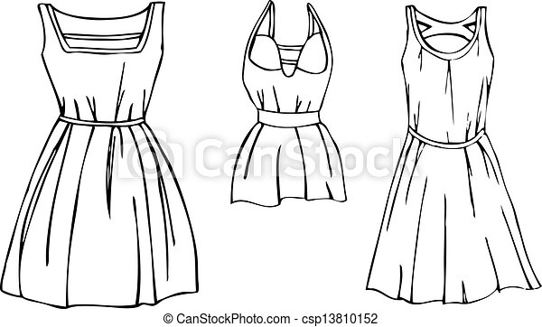3 Isolated Womens Dress Vectors A Set Of 3 Isolated Black And