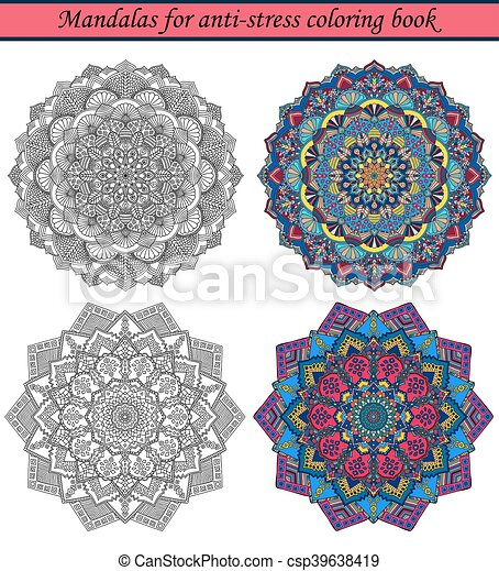 3, libro colorear, anti-stress, mandalas. Decorativo, elements ...