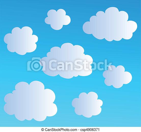 3, nuages, dessin animé, collection - csp4906371