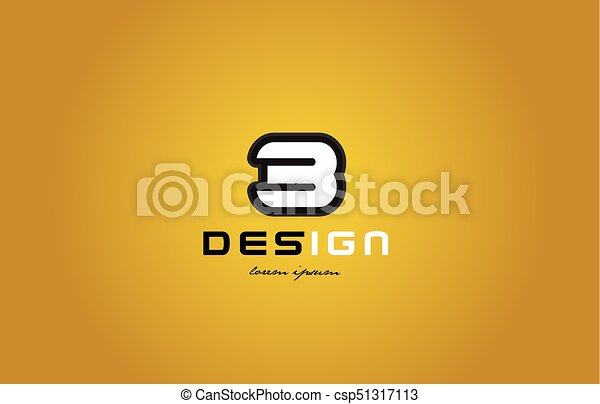 3 number numeral digit white on yellow background - csp51317113