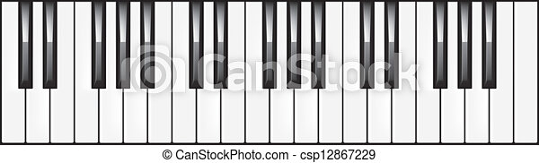 3-octave piano keyboard illustration - csp12867229