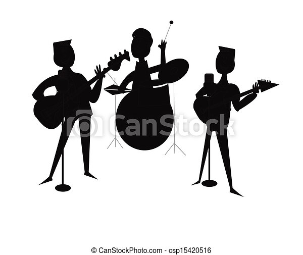 3 piece band in silhouette band in silhouette over white