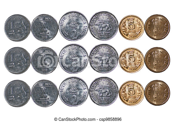 3 rows Indian Coins isolated on white copy space - csp9858896