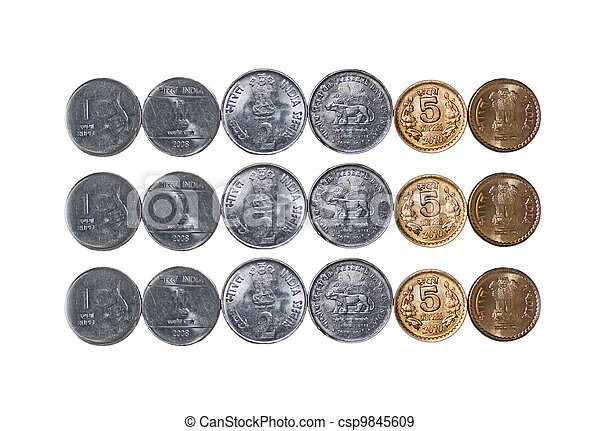 3 rows Indian Coins isolated on white copy space - csp9845609