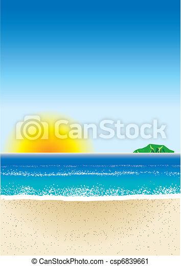 3, strand, achtergrond - csp6839661