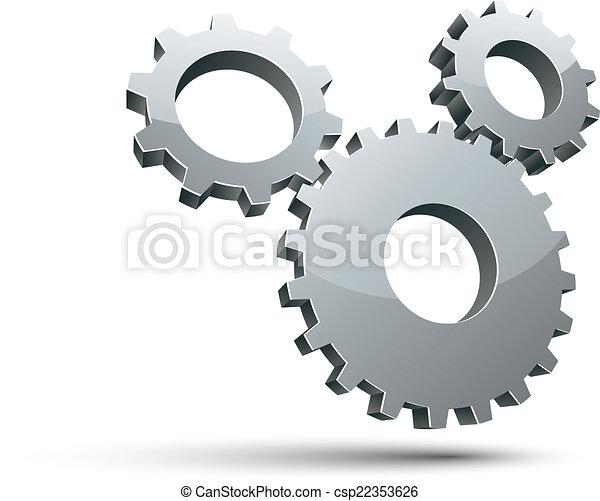 3 engranajes 3D vector icono. - csp22353626