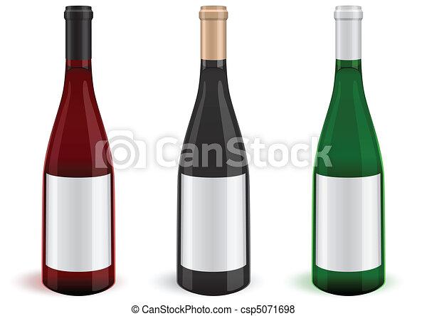 Ilustración de 3 botellas de vino. - csp5071698
