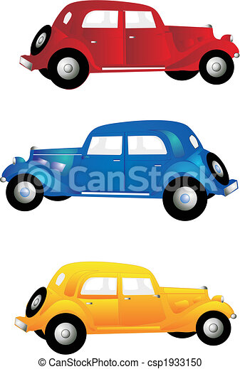 3 vintage cars three old vintage cars in red blue and vector rh canstockphoto com classic car clipart free classic car clipart images