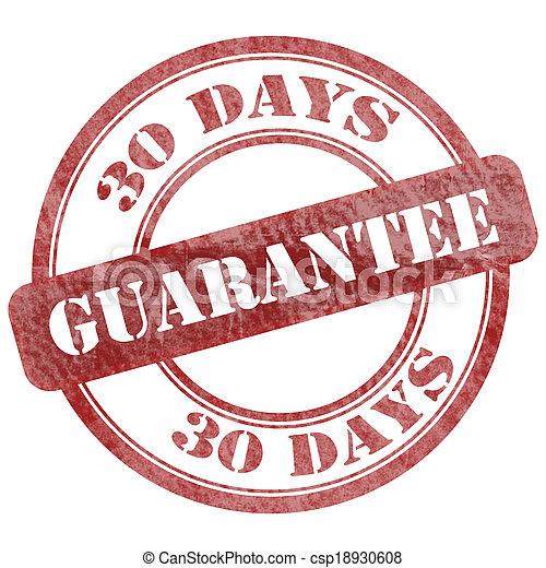 30 Days Guarantee Red Grunge Seal Stamp - csp18930608