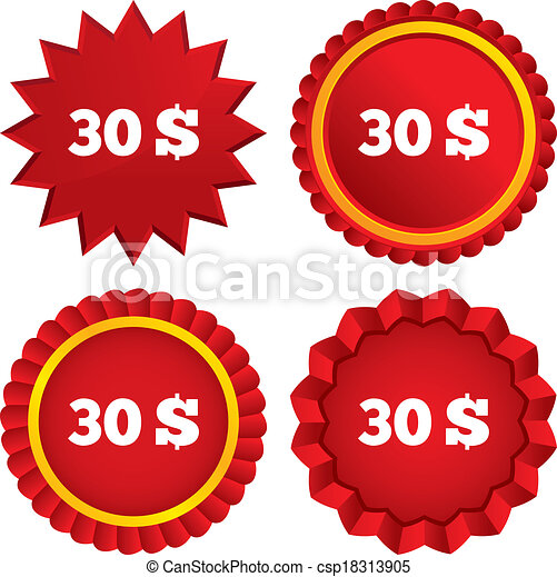 30 Dollars sign icon. USD currency symbol. - csp18313905