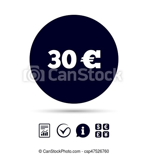 30 Euro Sign Icon Eur Currency Symbol Money Label Report Clip