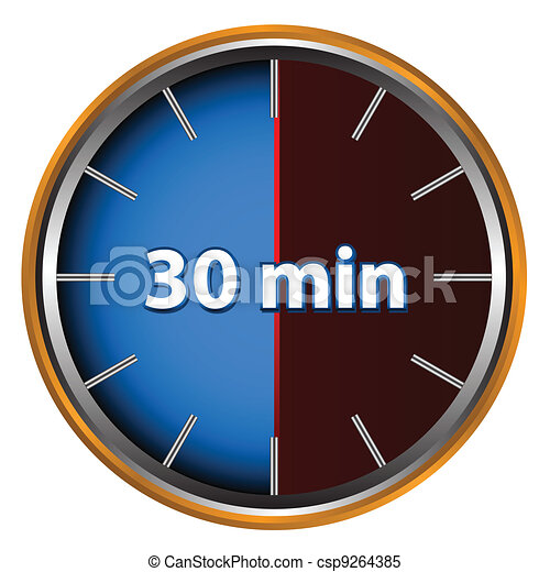 30 Minutes Unique Icon Of Hours With Thirty Minutes