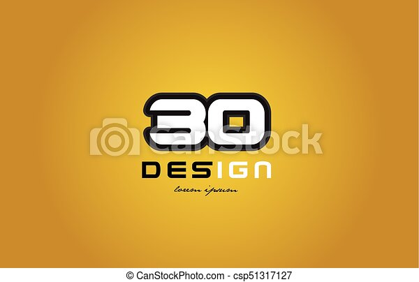 30 number numeral digit white on yellow background - csp51317127