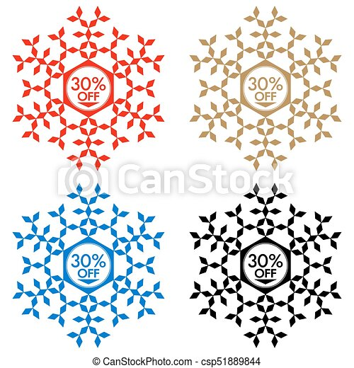 30 Off Discount Sticker Snowflake 30 Off Sale 30 Off Discount
