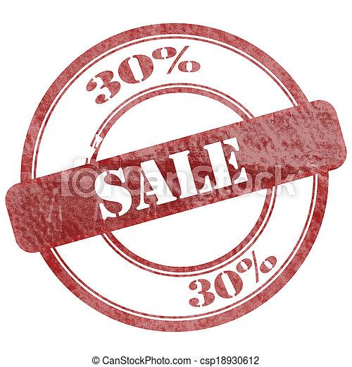 30% Sales Red Grunge Seal Stamp - csp18930612