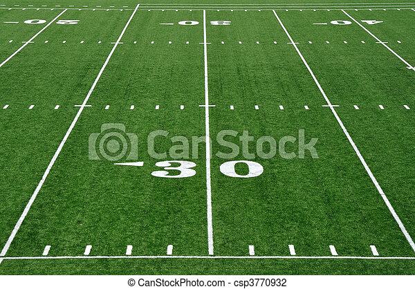 30 Yard Line On American Football Field Thirty Yard Line On American Football Field