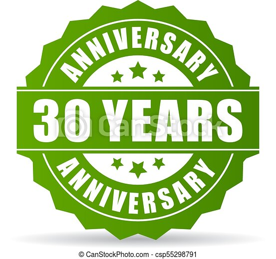 30 years anniversary vector icon isolated on white background
