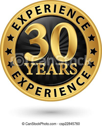 30 years experience gold label, vector illustration - csp22845760