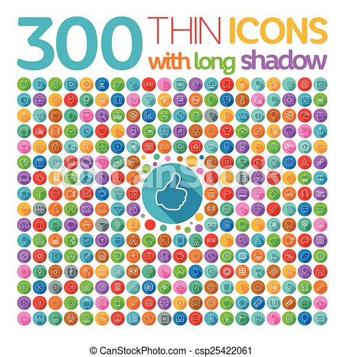 300 Thin Icons With Long Shadow - csp25422061