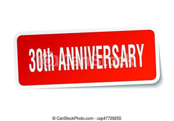 30th anniversary square sticker on white - csp47729255