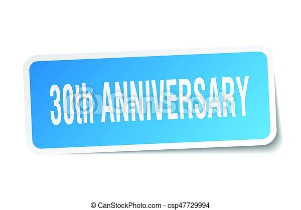 30th anniversary square sticker on white - csp47729994