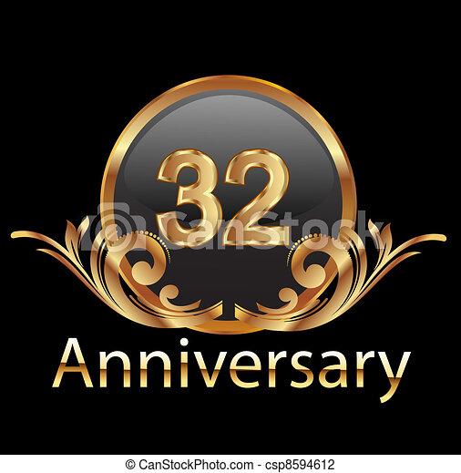 32 anniversary happy birthday - csp8594612