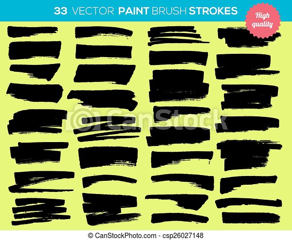 33 vector paint brushes. Ink strokes, paint splash set. Grunge watercolor broad brush strokes. With color abstract background. - csp26027148