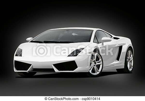 3/4 view of white supercar - csp9010414