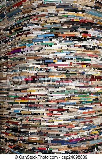 344, ブランチ, ラウンド, 市の, チェコ, 棚, プラハ, 42, 図書館, comprised, 図書館, モビール, prague's, republic., 本, 2, 本, ホール - csp24098839