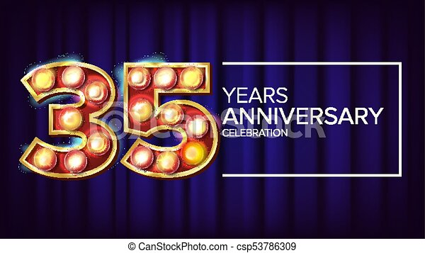 35 Years Anniversary Banner Vector Thirty Five Vector Clipart