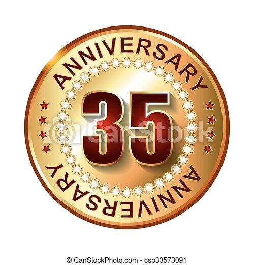 35 Years Anniversary Golden Label Eps Vectors Search Clip Art