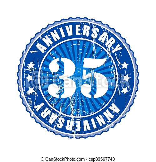35 Years Anniversary Stamp Eps Vector Search Clip Art