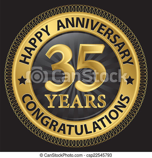 35 Years Happy Anniversary Congratulations Gold Label With Eps