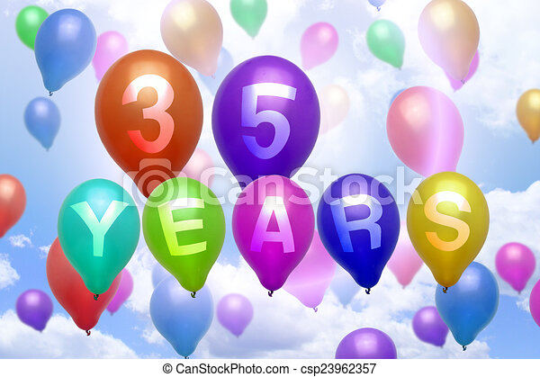 35 Years Happy Birthday Balloon Colorful Balloons